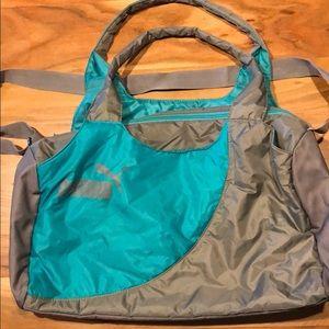 Puma teal and grey duffel bag